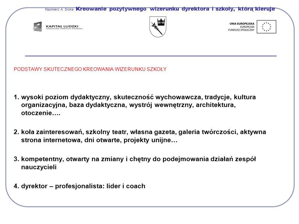 Kazimierz A. Sroka Kreowanie pozytywnego wizerunku dyrektora i szkoły, którą kieruje PODSTAWY SKUTECZNEGO KREOWANIA WIZERUNKU SZKOŁY 1. wysoki poziom