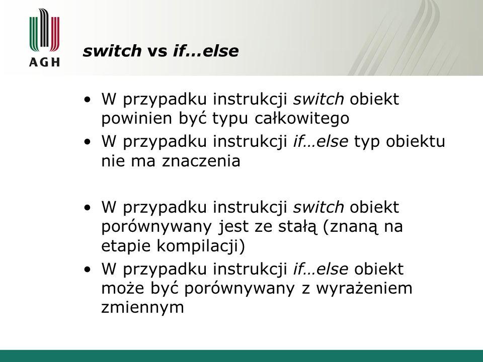 switch vs if…else W przypadku instrukcji switch obiekt powinien być typu całkowitego W przypadku instrukcji if…else typ obiektu nie ma znaczenia W przypadku instrukcji switch obiekt porównywany jest ze stałą (znaną na etapie kompilacji) W przypadku instrukcji if…else obiekt może być porównywany z wyrażeniem zmiennym