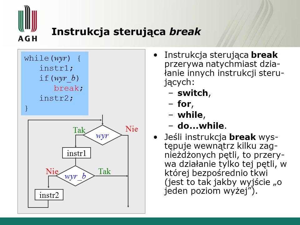 Instrukcja sterująca break Instrukcja sterująca break przerywa natychmiast dzia- łanie innych instrukcji steru- jących: –switch, –for, –while, –do...w