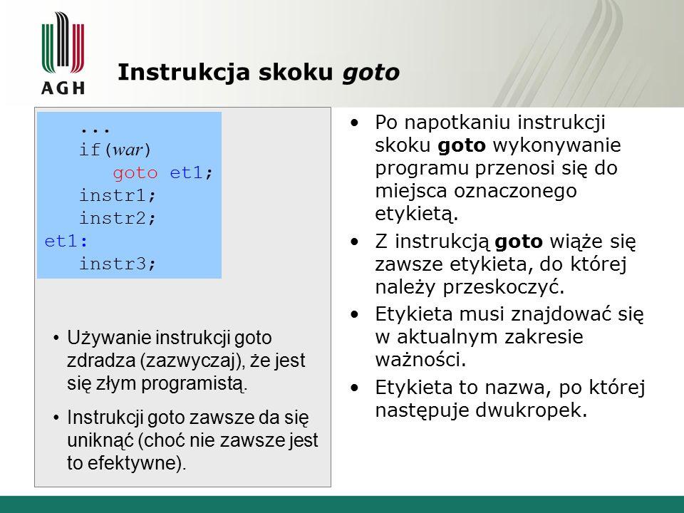 Instrukcja skoku goto Po napotkaniu instrukcji skoku goto wykonywanie programu przenosi się do miejsca oznaczonego etykietą.