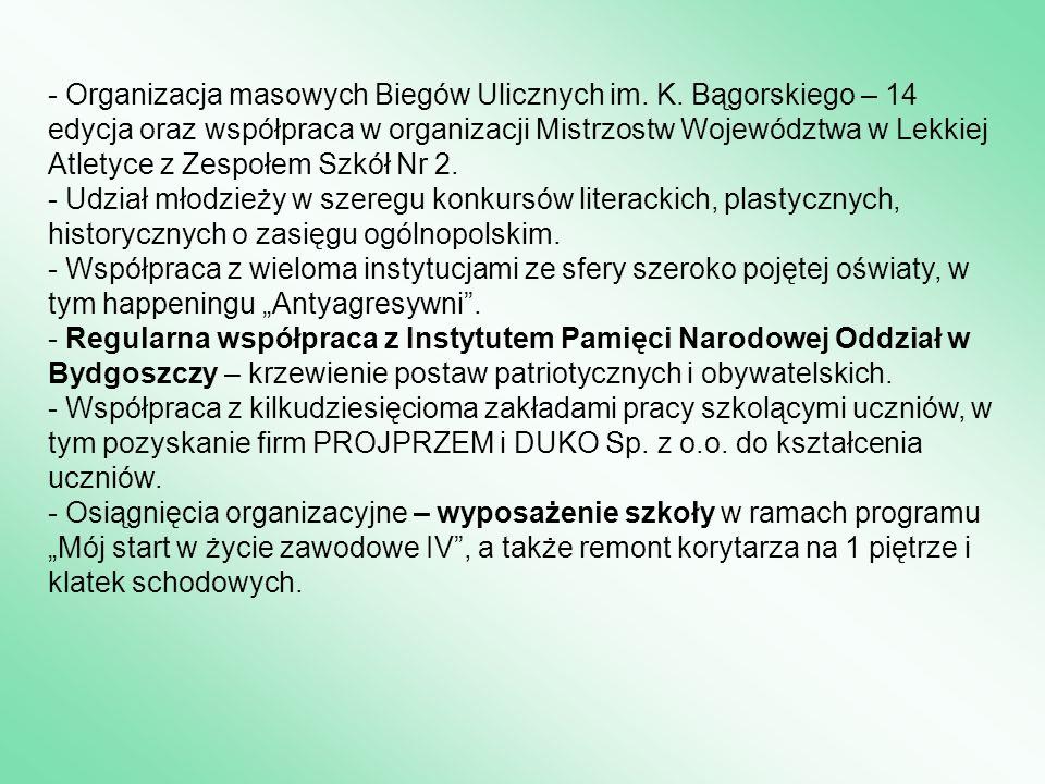 - Organizacja masowych Biegów Ulicznych im. K. Bągorskiego – 14 edycja oraz współpraca w organizacji Mistrzostw Województwa w Lekkiej Atletyce z Zespo