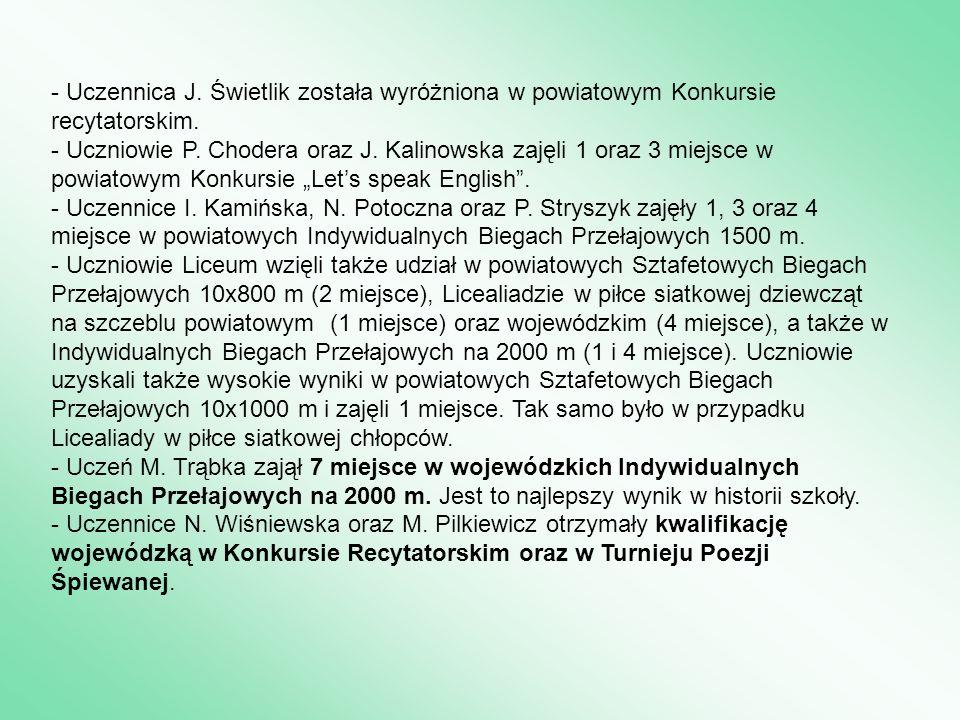 - Uczennica J. Świetlik została wyróżniona w powiatowym Konkursie recytatorskim. - Uczniowie P. Chodera oraz J. Kalinowska zajęli 1 oraz 3 miejsce w p