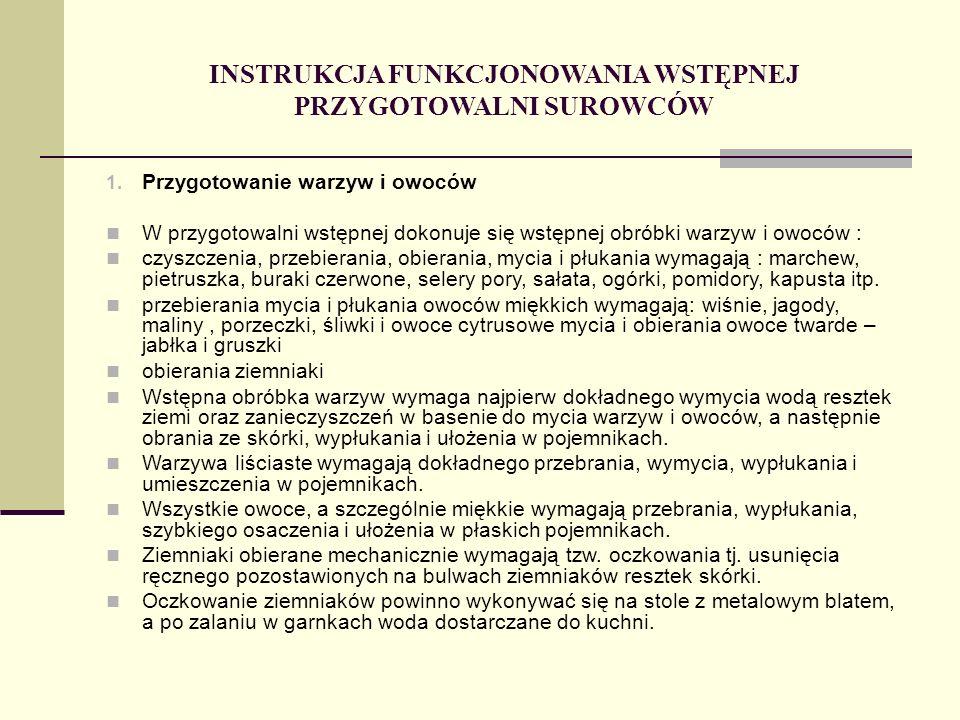 INSTRUKCJA FUNKCJONOWANIA WSTĘPNEJ PRZYGOTOWALNI SUROWCÓW 1.