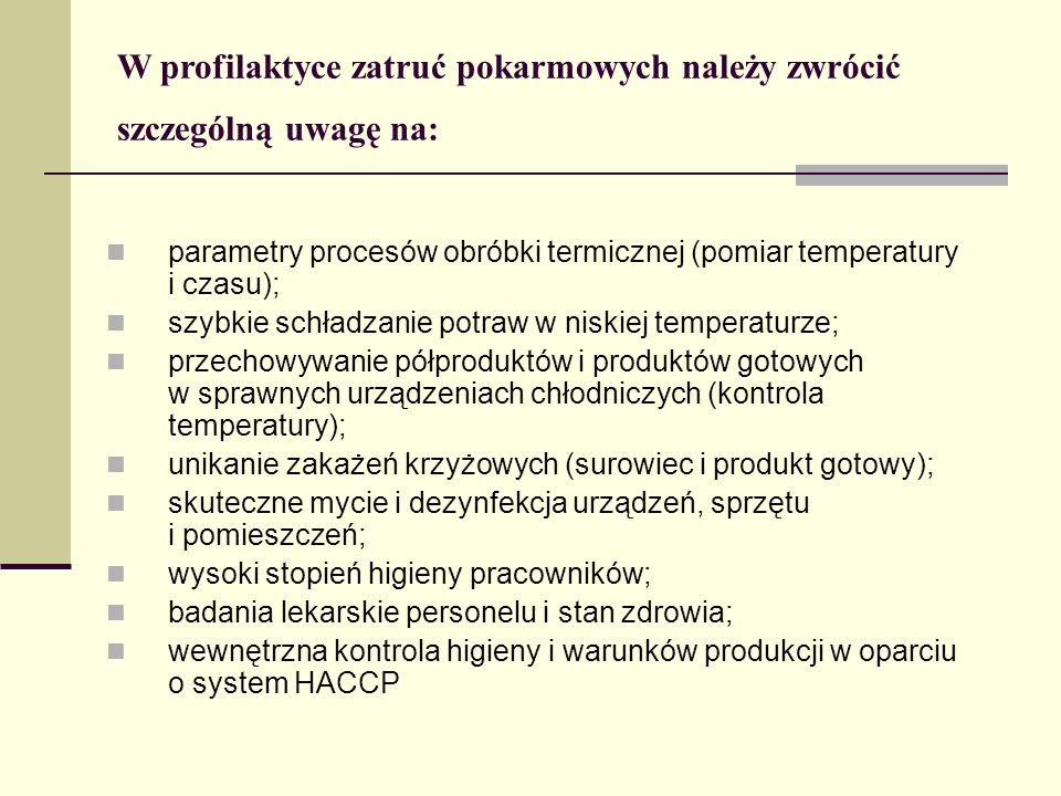 W profilaktyce zatruć pokarmowych należy zwrócić szczególną uwagę na: parametry procesów obróbki termicznej (pomiar temperatury i czasu); szybkie schładzanie potraw w niskiej temperaturze; przechowywanie półproduktów i produktów gotowych w sprawnych urządzeniach chłodniczych (kontrola temperatury); unikanie zakażeń krzyżowych (surowiec i produkt gotowy); skuteczne mycie i dezynfekcja urządzeń, sprzętu i pomieszczeń; wysoki stopień higieny pracowników; badania lekarskie personelu i stan zdrowia; wewnętrzna kontrola higieny i warunków produkcji w oparciu o system HACCP