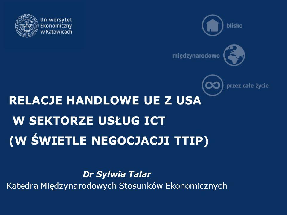 RELACJE HANDLOWE UE Z USA W SEKTORZE USŁUG ICT (W ŚWIETLE NEGOCJACJI TTIP) Dr Sylwia Talar Katedra Międzynarodowych Stosunków Ekonomicznych