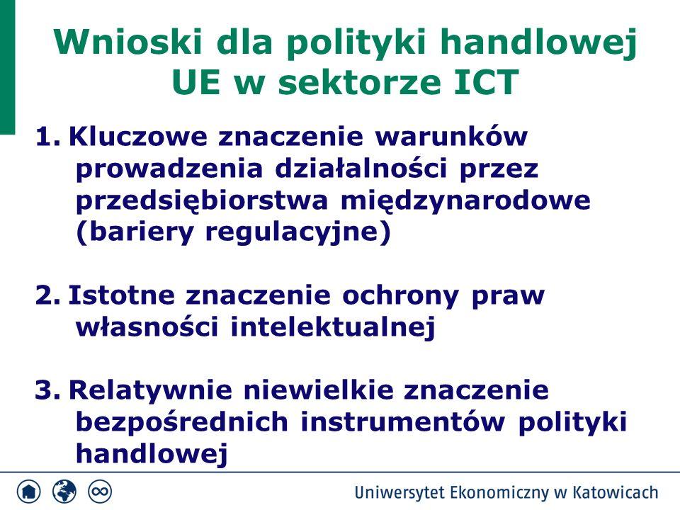 Wnioski dla polityki handlowej UE w sektorze ICT 1.Kluczowe znaczenie warunków prowadzenia działalności przez przedsiębiorstwa międzynarodowe (bariery