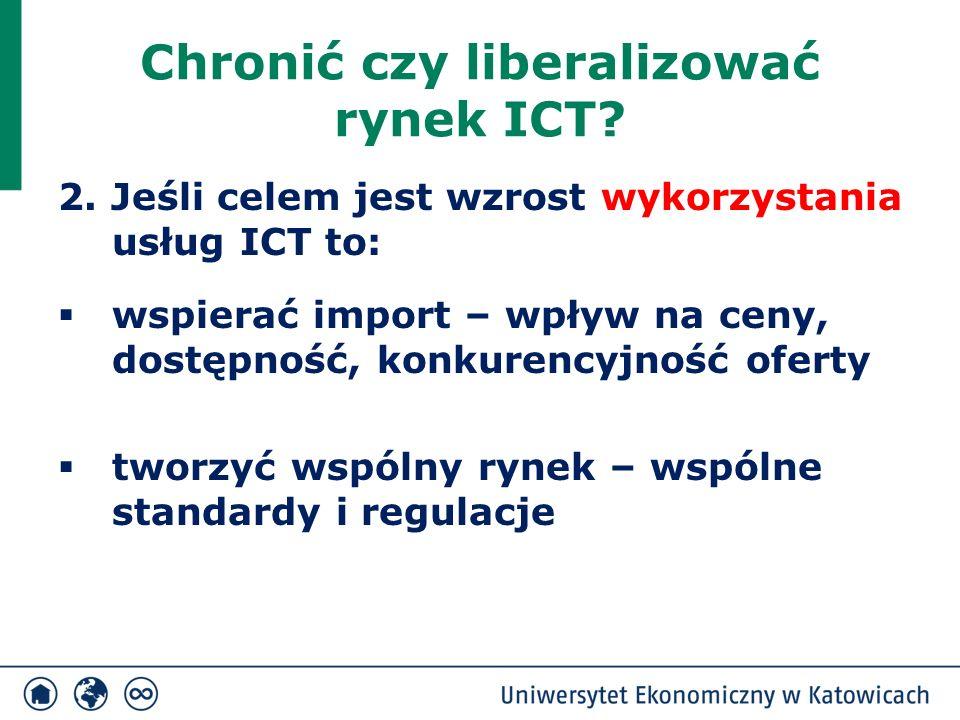 Chronić czy liberalizować rynek ICT? 2. Jeśli celem jest wzrost wykorzystania usług ICT to:  wspierać import – wpływ na ceny, dostępność, konkurencyj