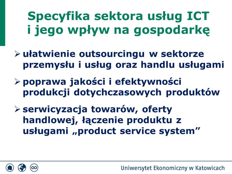 Specyfika sektora usług ICT i jego wpływ na gospodarkę  ułatwienie outsourcingu w sektorze przemysłu i usług oraz handlu usługami  poprawa jakości i