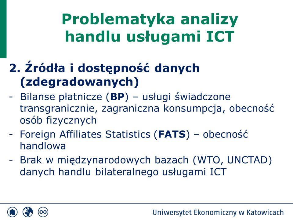 Problematyka analizy handlu usługami ICT 2. Źródła i dostępność danych (zdegradowanych) - Bilanse płatnicze (BP) – usługi świadczone transgranicznie,