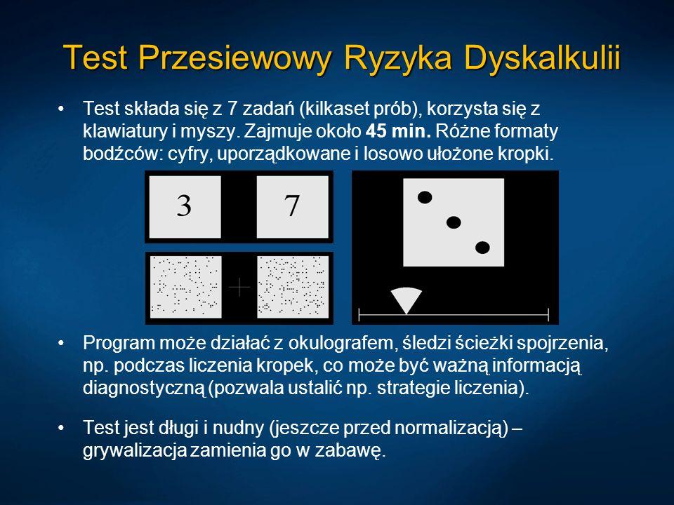 Test Przesiewowy Ryzyka Dyskalkulii Test składa się z 7 zadań (kilkaset prób), korzysta się z klawiatury i myszy.