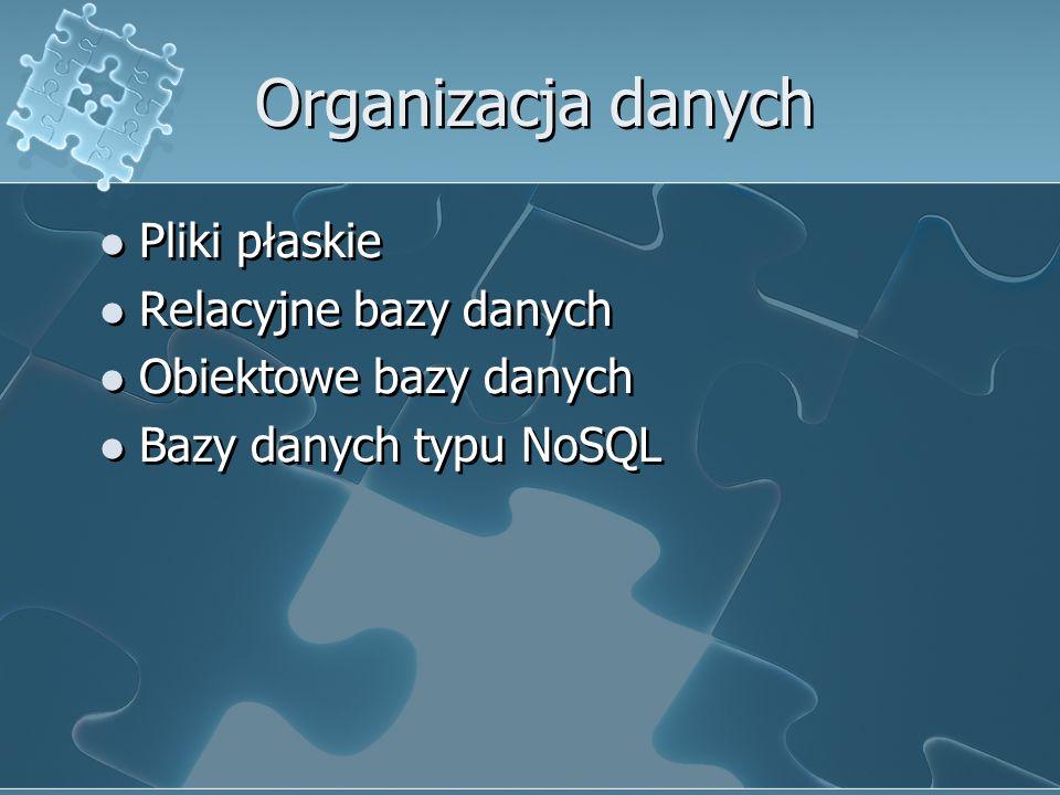 Organizacja danych Pliki płaskie Relacyjne bazy danych Obiektowe bazy danych Bazy danych typu NoSQL Pliki płaskie Relacyjne bazy danych Obiektowe bazy danych Bazy danych typu NoSQL