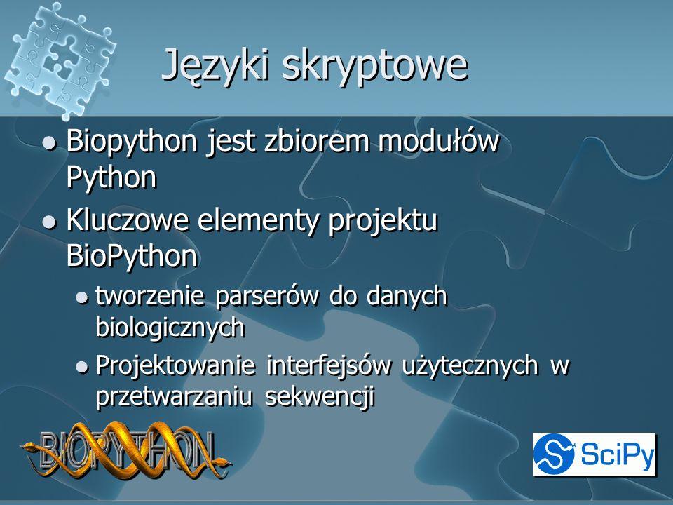 Języki skryptowe Biopython jest zbiorem modułów Python Kluczowe elementy projektu BioPython tworzenie parserów do danych biologicznych Projektowanie interfejsów użytecznych w przetwarzaniu sekwencji Biopython jest zbiorem modułów Python Kluczowe elementy projektu BioPython tworzenie parserów do danych biologicznych Projektowanie interfejsów użytecznych w przetwarzaniu sekwencji