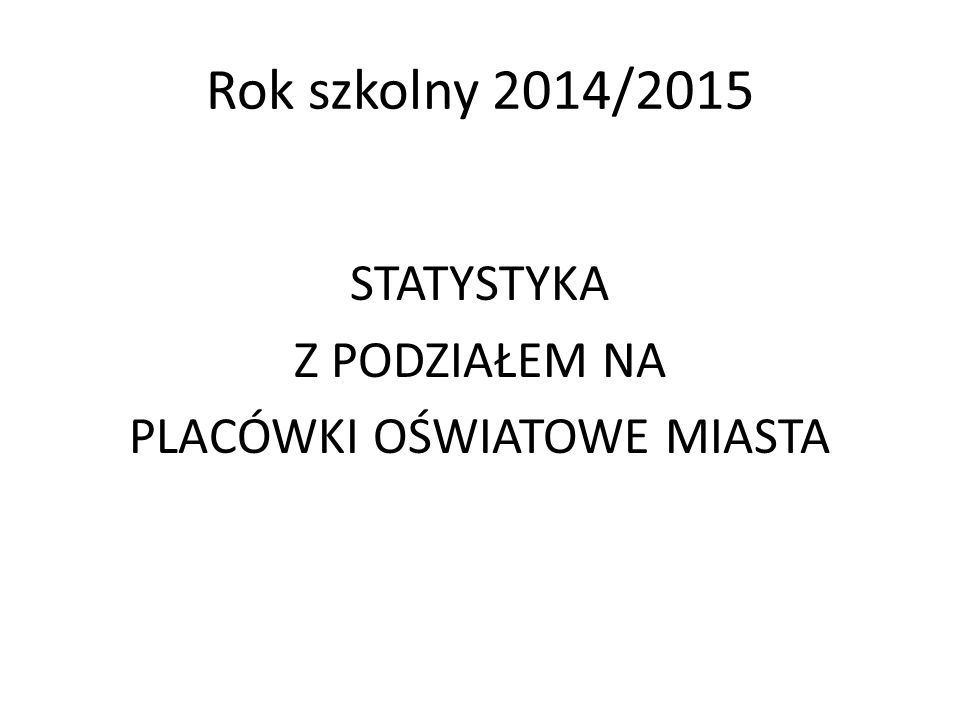 Rok szkolny 2014/2015 STATYSTYKA Z PODZIAŁEM NA PLACÓWKI OŚWIATOWE MIASTA