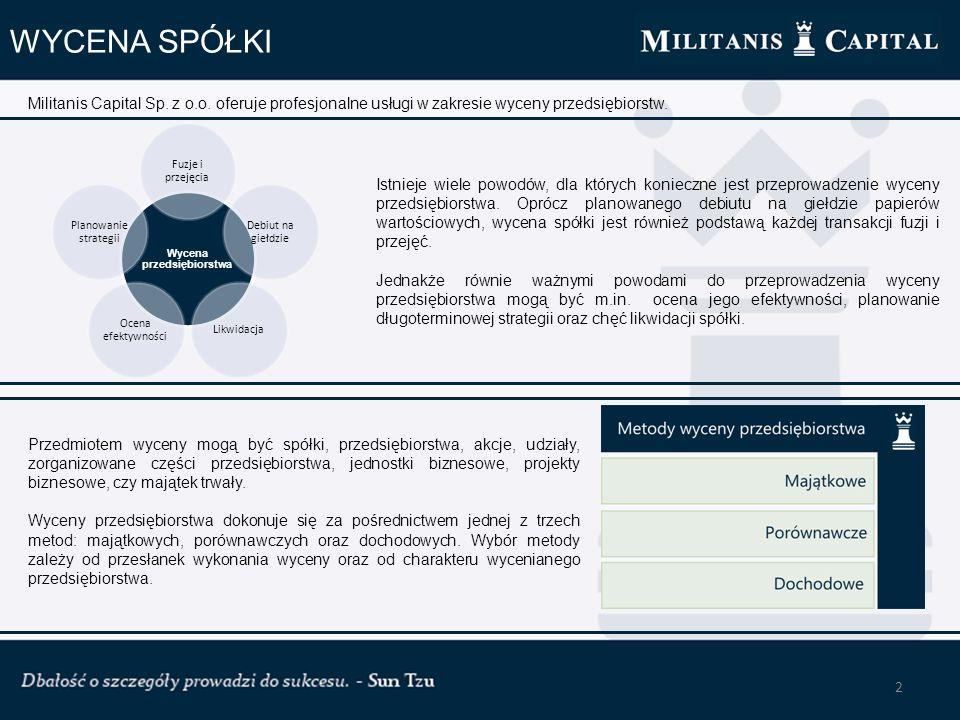 3 WYCENA ZNAKU TOWAROWEGO Militanis Capital oferuje swoim klientom usługę wyceny znaków towarowych.