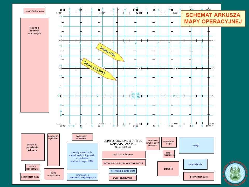 podziałka liniowa informacje o cięciu warstwicowym informacje o siatce UTM uwagi użytkownika oznaczenie czworokątów GEOREF dokładność mapy dane o odwzorowaniu słownik uwagi ostrzeżenie identyfikator mapy wysokości w metrach zasady określania współrzędnych punktu w systemie meldunkowym UTM informacje o przeliczeniu współrzędnych przelicznik wysokości dane o wydawcy schemat położenia arkusza skala i nazwa arkusza identyfikator mapy legenda znaków umownych Siatka GEOREF Siatka UTM SCHEMAT ARKUSZA MAPY OPERACYJNEJ