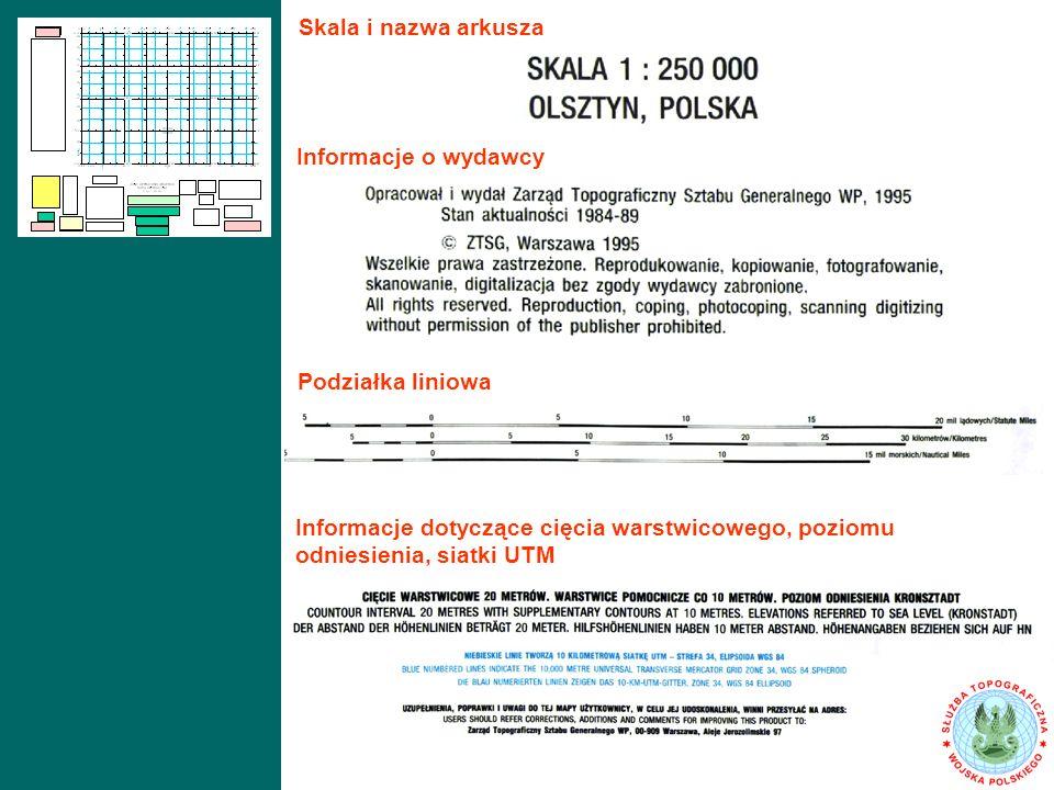 Podziałka liniowa Informacje dotyczące cięcia warstwicowego, poziomu odniesienia, siatki UTM Skala i nazwa arkusza Informacje o wydawcy