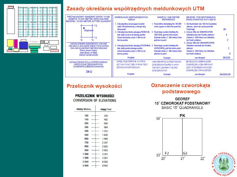Przelicznik wysokości Oznaczenie czworokąta podstawowego PK FJGJ Zasady określania współrzędnych meldunkowych UTM