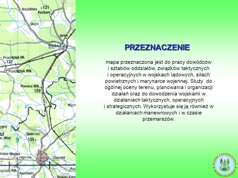 Mapa operacyjna w skali 1 : 250 000 zawiera informacje pozaramkowe, zgodne ze standardami NATO (STANAG3676).