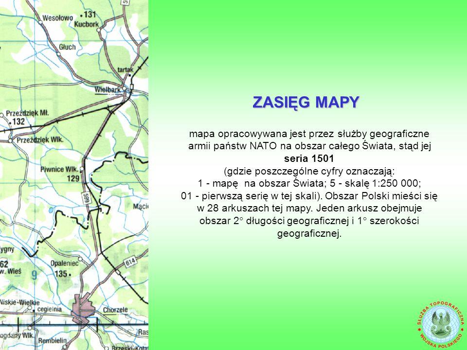 mapa opracowywana jest przez służby geograficzne armii państw NATO na obszar całego Świata, stąd jej seria 1501 (gdzie poszczególne cyfry oznaczają: 1 - mapę na obszar Świata; 5 - skalę 1:250 000; 01 - pierwszą serię w tej skali).