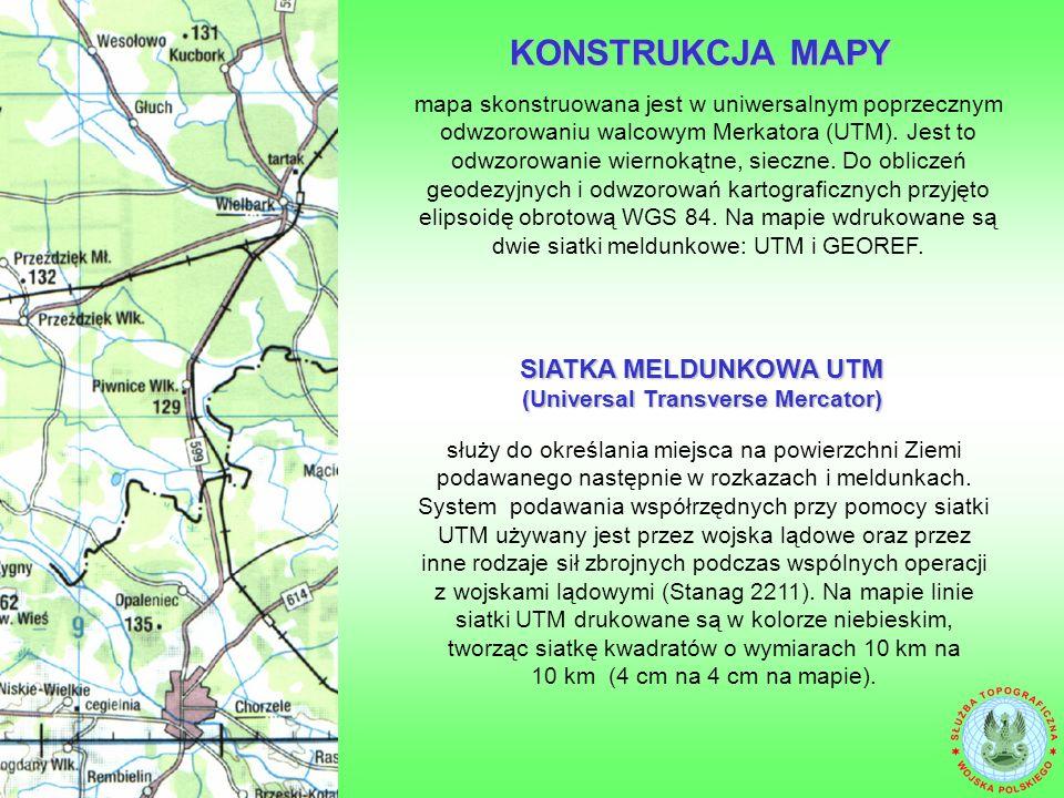mapa skonstruowana jest w uniwersalnym poprzecznym odwzorowaniu walcowym Merkatora (UTM).