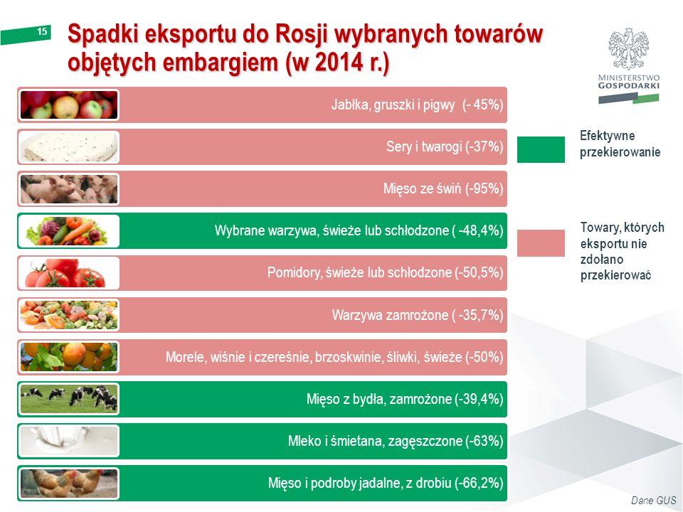 15 Spadki eksportu do Rosji wybranych towarów objętych embargiem (w 2014 r.) Dane GUS Jabłka, gruszki i pigwy (- 45%) Sery i twarogi (-37%) Mięso ze ś