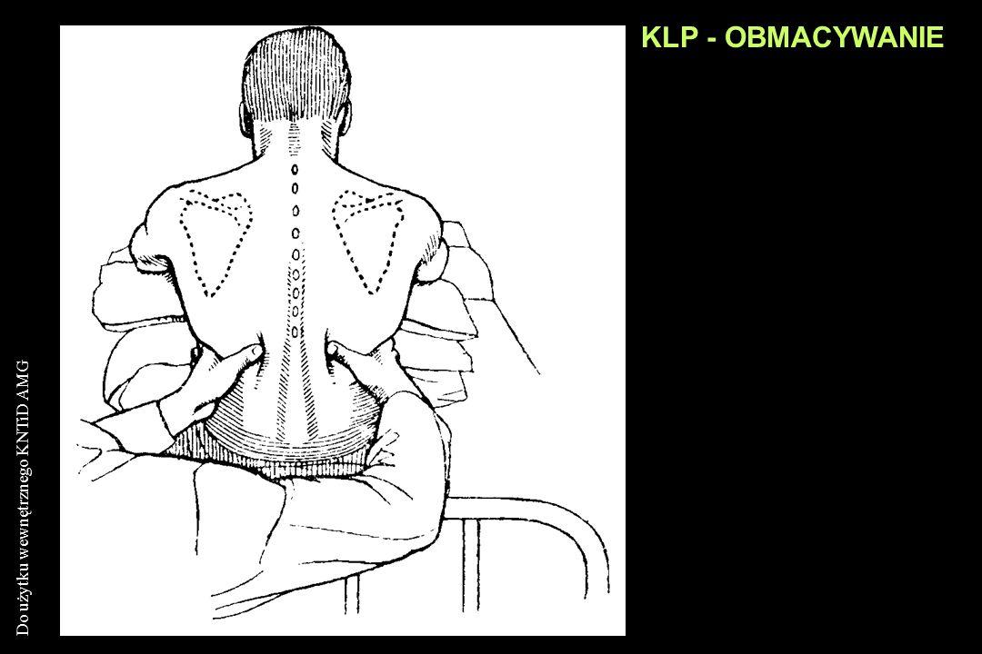 Do użytku wewnętrznego KNTiD AMG KLP - OBMACYWANIE Ocena symetrii ruchów oddechowych klp Badanie nacieków skórnych Określenie miejscowej bolesności że