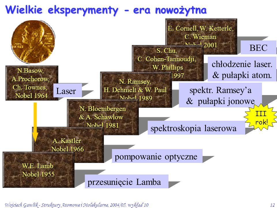 Wojciech Gawlik - Struktury Atomowe i Molekularne, 2004/05. wykład 1012 Wielkie eksperymenty - E. Cornell, W. Ketterle, C. Wieman Nobel 2001 S. Chu, C