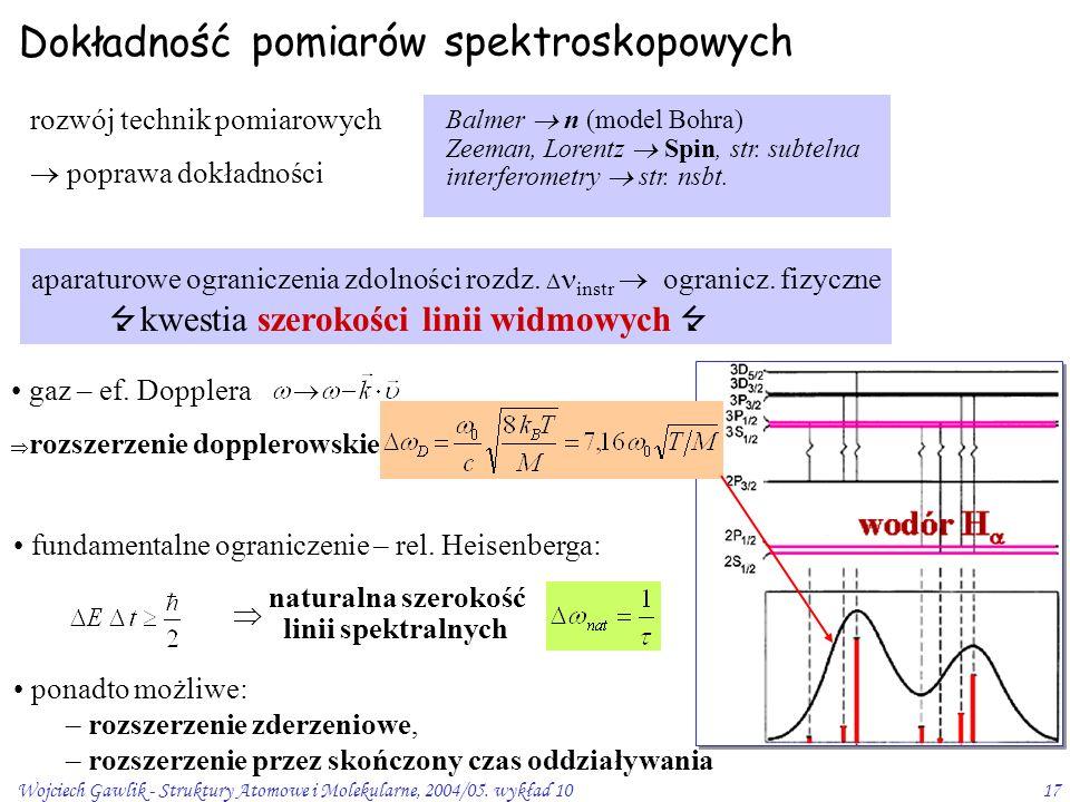 Wojciech Gawlik - Struktury Atomowe i Molekularne, 2004/05. wykład 1017 aparaturowe ograniczenia zdolności rozdz.  instr  ogranicz. fizyczne  kwest