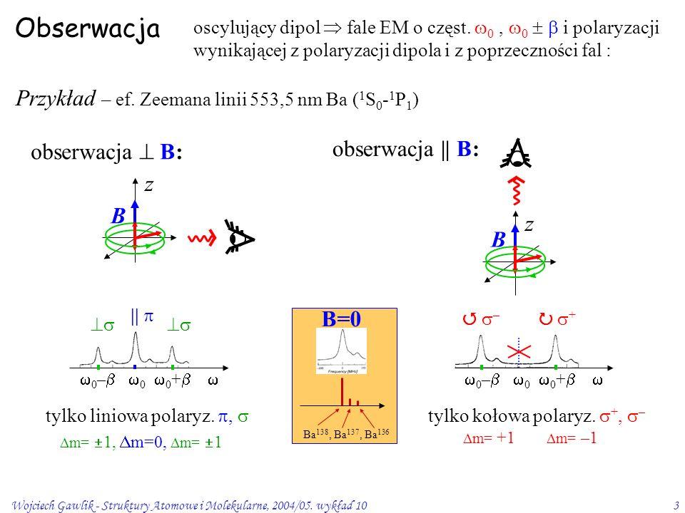 Wojciech Gawlik - Struktury Atomowe i Molekularne, 2004/05. wykład 103  0 –   0  0 +   Obserwacja oscylujący dipol  fale EM o częst.  0,  0 