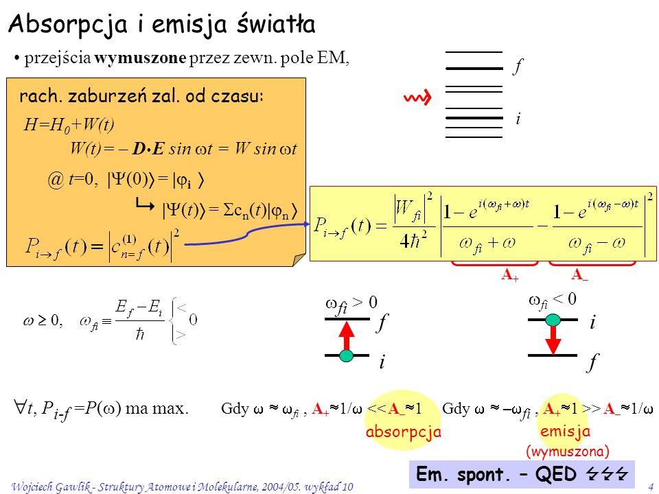 Wojciech Gawlik - Struktury Atomowe i Molekularne, 2004/05. wykład 104 Absorpcja i emisja światła przejścia wymuszone przez zewn. pole EM, rach. zabur