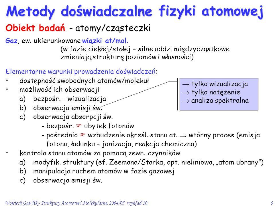 Wojciech Gawlik - Struktury Atomowe i Molekularne, 2004/05. wykład 106 Metody doświadczalne fizyki atomowej Gaz, ew. ukierunkowane wiązki at/mol. (w f