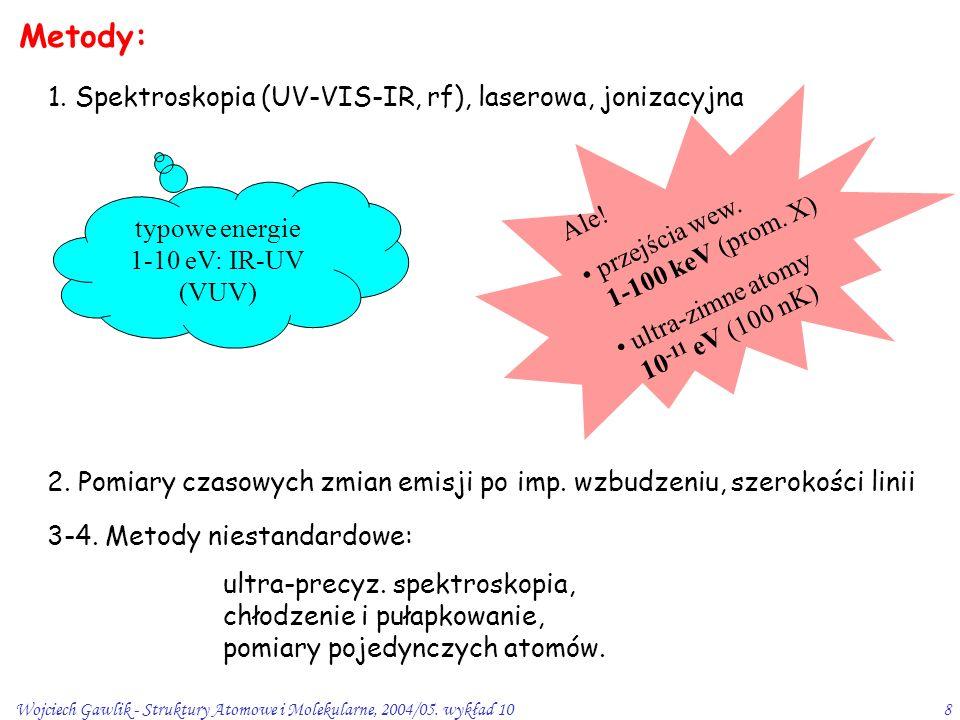 Wojciech Gawlik - Struktury Atomowe i Molekularne, 2004/05. wykład 108 Ale! przejścia wew. 1-100 keV (prom. X) ultra-zimne atomy 10 -11 eV (100 nK) Me