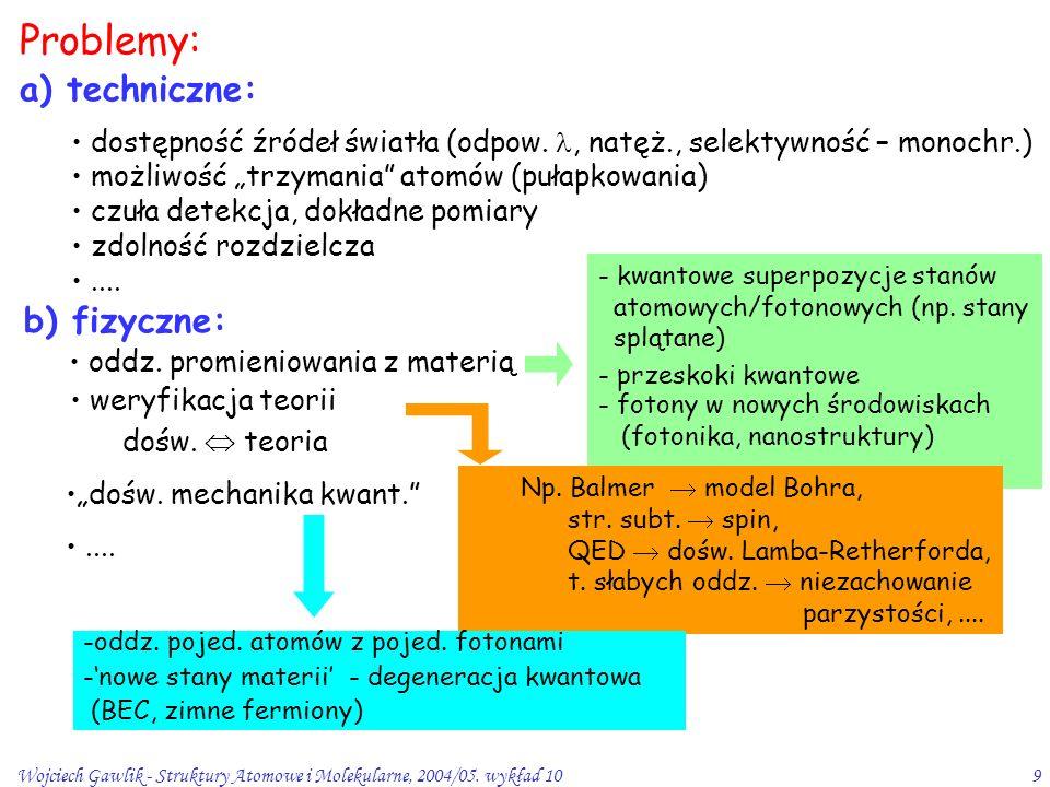 Wojciech Gawlik - Struktury Atomowe i Molekularne, 2004/05. wykład 109 Problemy: a) techniczne: b) fizyczne: dostępność źródeł światła (odpow., natęż.