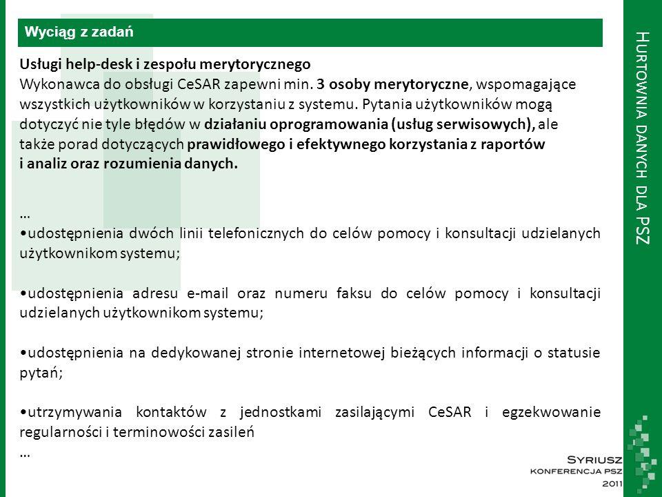 H URTOWNIA DANYCH DLA PSZ Wyciąg z zadań Usługi help-desk i zespołu merytorycznego Wykonawca do obsługi CeSAR zapewni min. 3 osoby merytoryczne, wspom