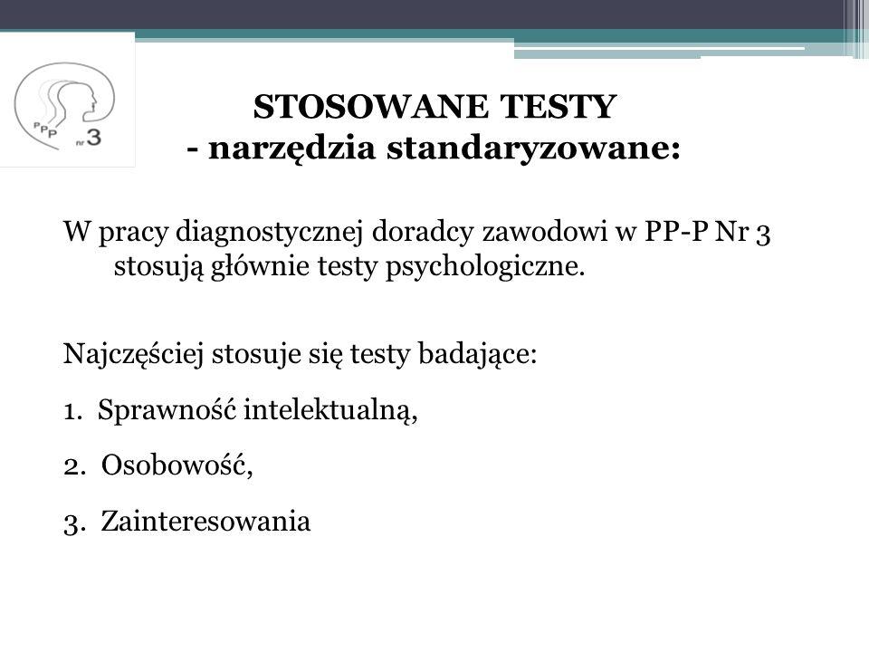 STOSOWANE TESTY - narzędzia standaryzowane: W pracy diagnostycznej doradcy zawodowi w PP-P Nr 3 stosują głównie testy psychologiczne.