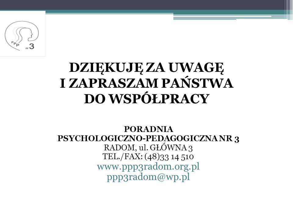 DZIĘKUJĘ ZA UWAGĘ I ZAPRASZAM PAŃSTWA DO WSPÓŁPRACY PORADNIA PSYCHOLOGICZNO-PEDAGOGICZNA NR 3 RADOM, ul.