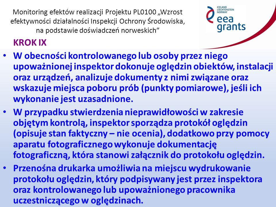 """Monitoring efektów realizacji Projektu PL0100 """"Wzrost efektywności działalności Inspekcji Ochrony Środowiska, na podstawie doświadczeń norweskich KROK IX W obecności kontrolowanego lub osoby przez niego upoważnionej inspektor dokonuje oględzin obiektów, instalacji oraz urządzeń, analizuje dokumenty z nimi związane oraz wskazuje miejsca poboru prób (punkty pomiarowe), jeśli ich wykonanie jest uzasadnione."""