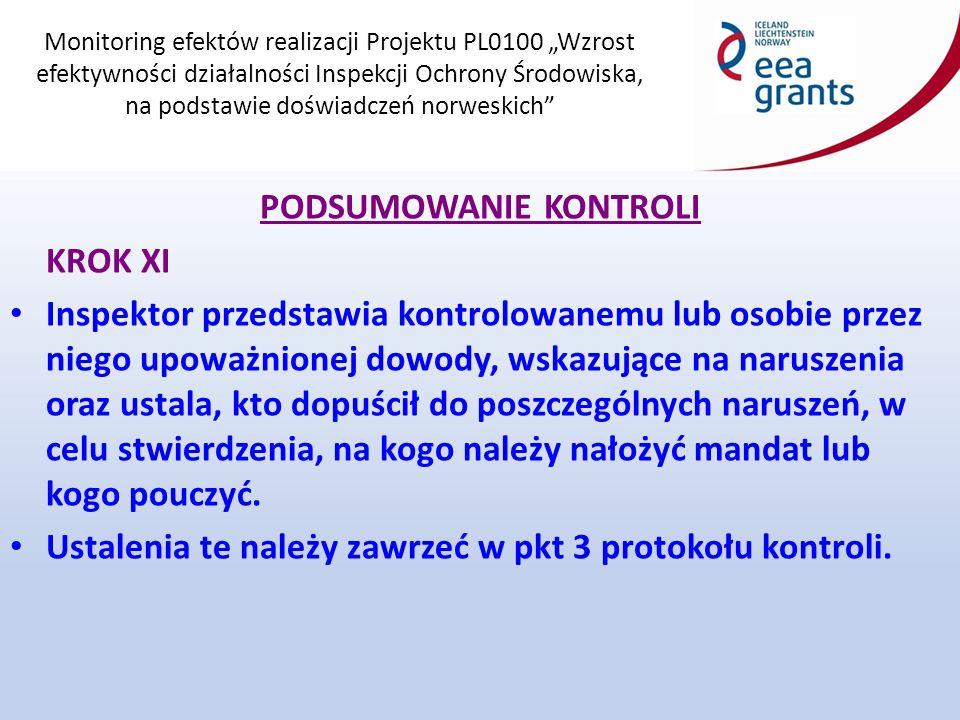 """Monitoring efektów realizacji Projektu PL0100 """"Wzrost efektywności działalności Inspekcji Ochrony Środowiska, na podstawie doświadczeń norweskich PODSUMOWANIE KONTROLI KROK XI Inspektor przedstawia kontrolowanemu lub osobie przez niego upoważnionej dowody, wskazujące na naruszenia oraz ustala, kto dopuścił do poszczególnych naruszeń, w celu stwierdzenia, na kogo należy nałożyć mandat lub kogo pouczyć."""