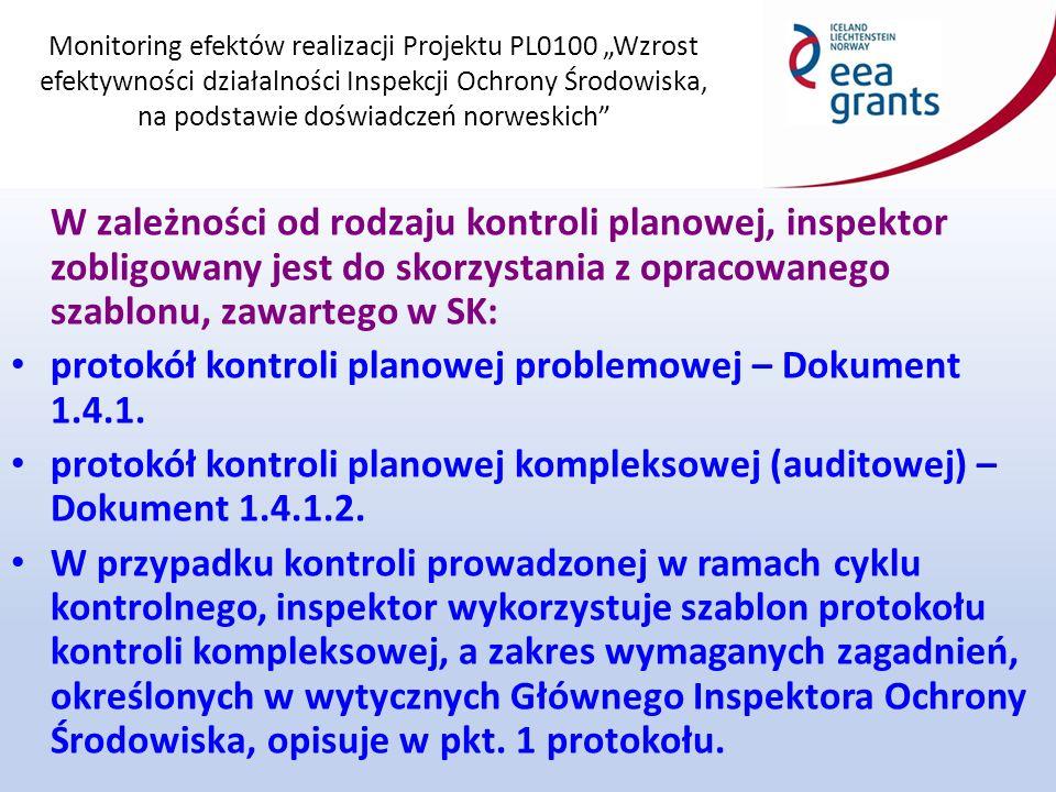 """Monitoring efektów realizacji Projektu PL0100 """"Wzrost efektywności działalności Inspekcji Ochrony Środowiska, na podstawie doświadczeń norweskich Każdy protokół kontroli planowej powinien zawierać następujące informacje: Ustalenia kontroli Informacje wynikające z analizy dokumentów dotyczących zakresu korzystania kontrolowanego zakładu/instalacji ze środowiska."""