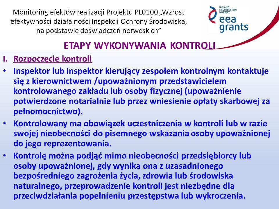 """Monitoring efektów realizacji Projektu PL0100 """"Wzrost efektywności działalności Inspekcji Ochrony Środowiska, na podstawie doświadczeń norweskich ETAPY WYKONYWANIA KONTROLI I."""
