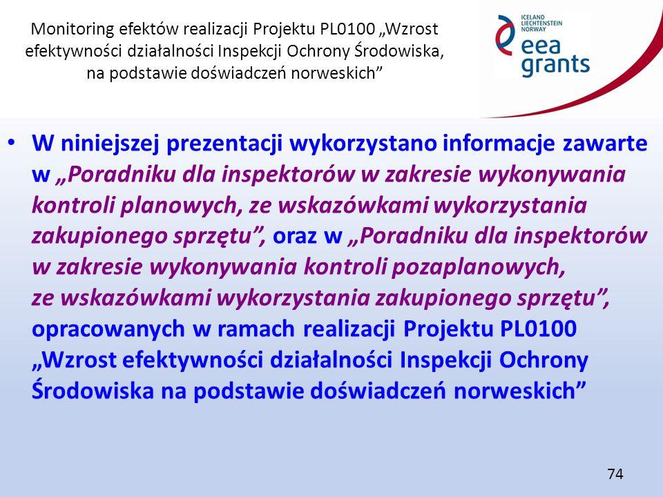"""Monitoring efektów realizacji Projektu PL0100 """"Wzrost efektywności działalności Inspekcji Ochrony Środowiska, na podstawie doświadczeń norweskich 74 W niniejszej prezentacji wykorzystano informacje zawarte w """"Poradniku dla inspektorów w zakresie wykonywania kontroli planowych, ze wskazówkami wykorzystania zakupionego sprzętu , oraz w """"Poradniku dla inspektorów w zakresie wykonywania kontroli pozaplanowych, ze wskazówkami wykorzystania zakupionego sprzętu , opracowanych w ramach realizacji Projektu PL0100 """"Wzrost efektywności działalności Inspekcji Ochrony Środowiska na podstawie doświadczeń norweskich"""
