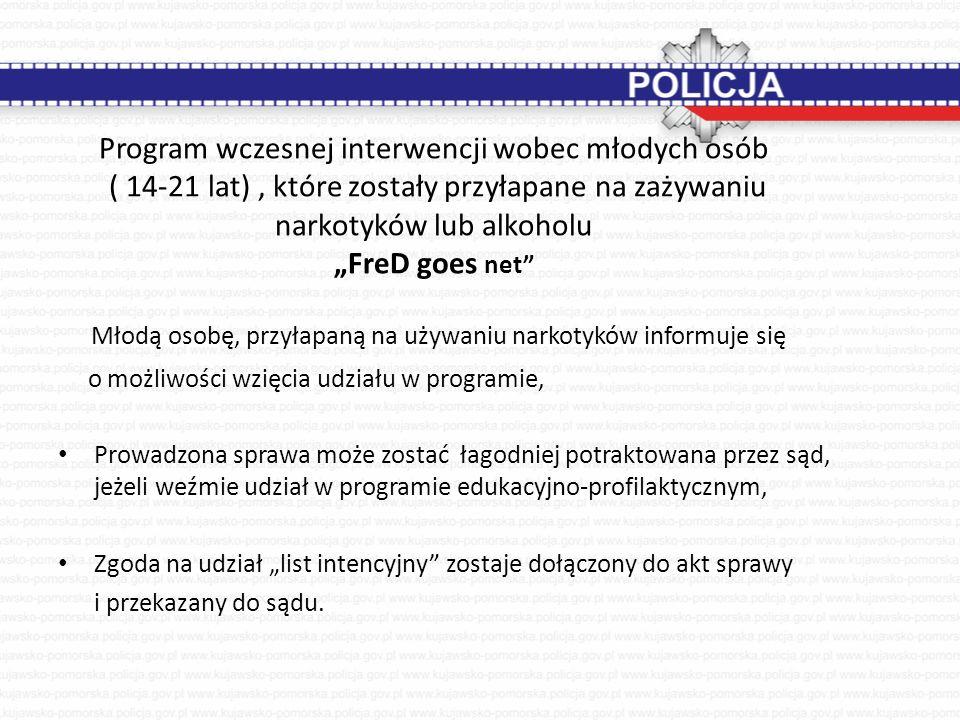 """Program wczesnej interwencji wobec młodych osób ( 14-21 lat), które zostały przyłapane na zażywaniu narkotyków lub alkoholu """"FreD goes net"""" Młodą osob"""