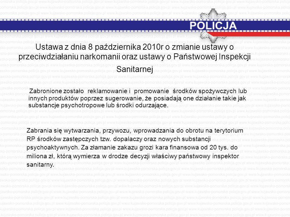 Ustawa z dnia 8 października 2010r o zmianie ustawy o przeciwdziałaniu narkomanii oraz ustawy o Państwowej Inspekcji Sanitarnej Zabronione zostało rek