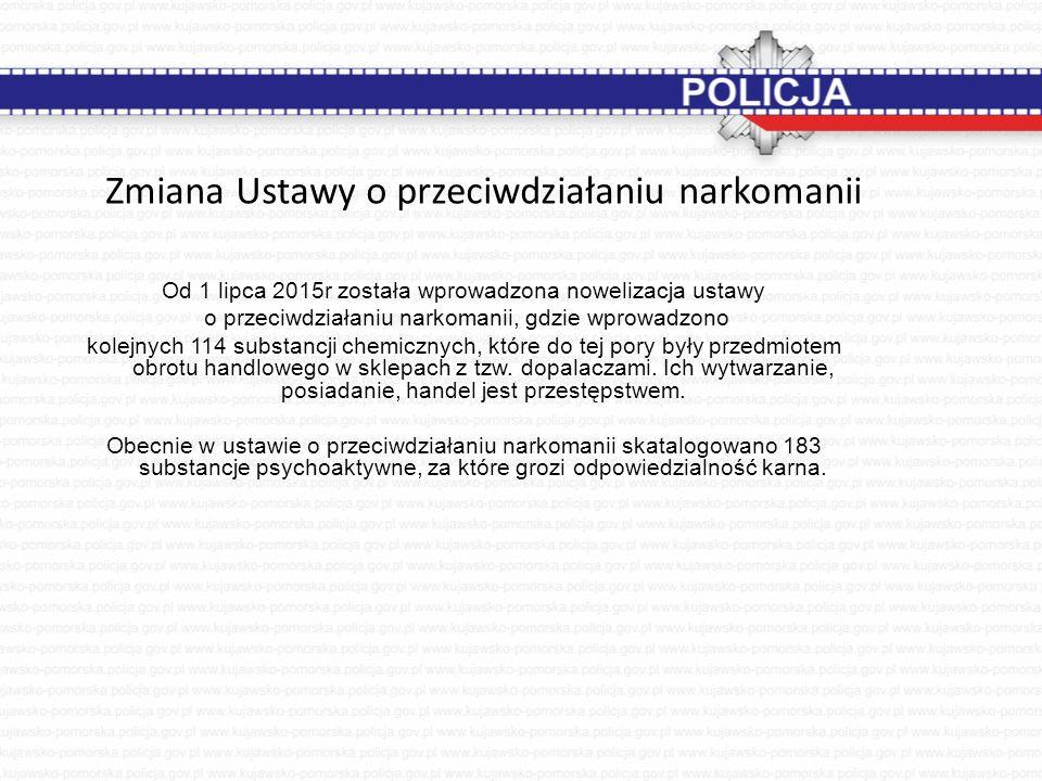 Zmiana Ustawy o przeciwdziałaniu narkomanii Od 1 lipca 2015r została wprowadzona nowelizacja ustawy o przeciwdziałaniu narkomanii, gdzie wprowadzono k