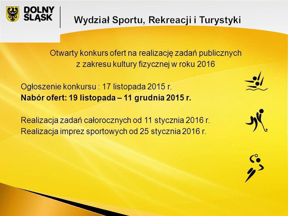 Otwarty konkurs ofert na realizację zadań publicznych z zakresu kultury fizycznej w roku 2016 Ogłoszenie konkursu : 17 listopada 2015 r. Nabór ofert:
