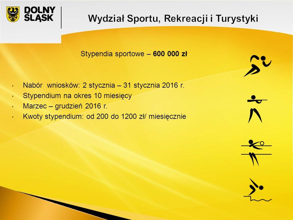 Stypendia sportowe – 600 000 zł Nabór wniosków: 2 stycznia – 31 stycznia 2016 r.