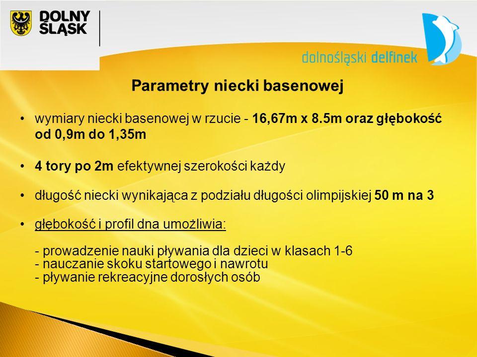 Parametry niecki basenowej wymiary niecki basenowej w rzucie - 16,67m x 8.5m oraz głębokość od 0,9m do 1,35m 4 tory po 2m efektywnej szerokości każdy