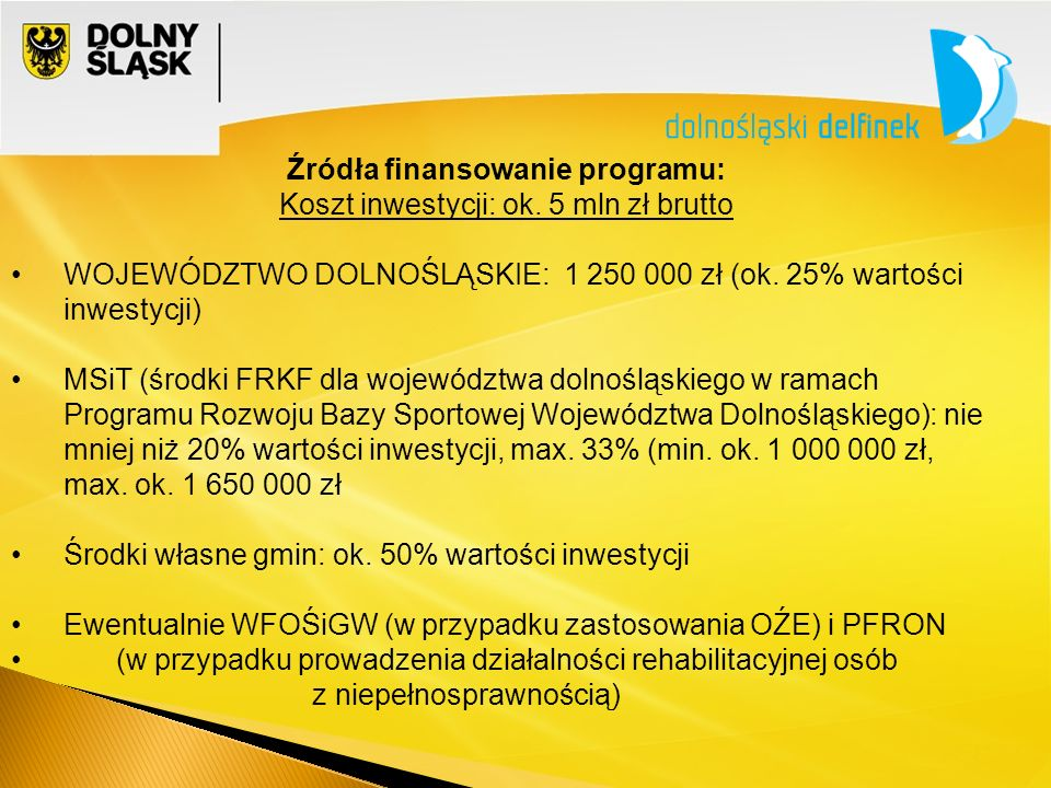 Źródła finansowanie programu: Koszt inwestycji: ok.