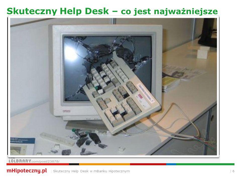 """  7 Skuteczny Help Desk – przemyślana konstrukcja   Skuteczny Help Desk w mBanku Hipotecznym Narzędzie Konfiguracja i kastomizacja Procesy Wdrożenie Promocja i konsekwencja ITIL jest ważny, ale zdrowy rozsądek jest ważniejszy i …… """"wdrażalny Reguła Pareto - Zasada """"kluczowych nielicznych i błahych licznych Łatwiej połknąć żabę niż słonia"""