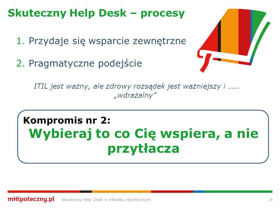 | 8 Skuteczny Help Desk – procesy | Skuteczny Help Desk w mBanku Hipotecznym Kompromis nr 2: Wybieraj to co Cię wspiera, a nie przytłacza 1. Przydaje